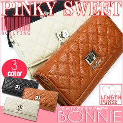 PINKY SWEETボニーキルティングアコーディオン長財布[PS-402]☆ボリュームのあるキルティング生地のスウィートなデザインの画像
