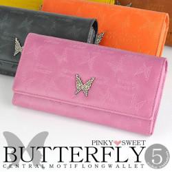 PINKY SWEETバタフライモチーフL字ファスナー長財布[PS-401]☆蝶の型押しと、メタルのモチーフをあしらった デザインの画像
