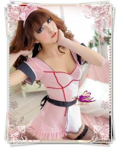 5417 エプロン付バック編み上げピンクのメイド服コスプレ(4点セット)☆イベントやパーティーにコスプレ!の画像