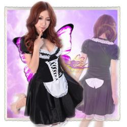 5414 エプロン一体のアキバ系メイド服・コスプワンピース☆イベントやパーティーにコスプレ!の画像