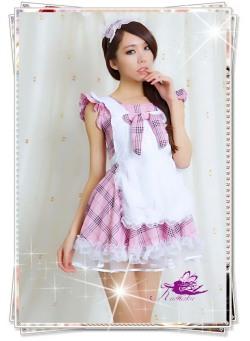 5438パニエ内蔵チェックの可愛い喫茶店メイド服コスプレ☆イベントやパーティーにコスプレ!の画像