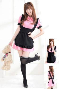 5432【メイド服】リボンとエプロン付ピンクのコスプレ☆イベントやパーティーにコスプレ!の画像