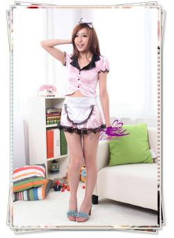 5400(4点)メイド服*リボンカチューシャ付ピンクのスーツコスプレ☆イベントやパーティーにコスプレ!の画像