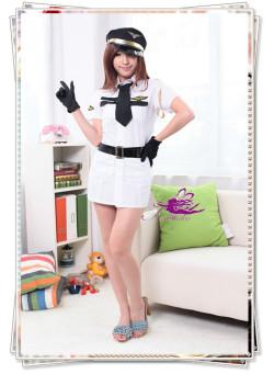 5301(6点)帽子&ベルト付の可愛い系の婦人警官コスプレ(グローブ付)☆イベントやパーティーにコスプレ!の画像