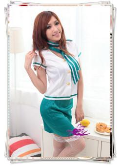 5315 緑色スカーフ付き胸元が大胆に開いたデザインスチュワーデスコスプレ☆イベントやパーティーにコスプレ!の画像