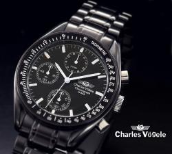 シャルルホーゲルクロノグラフ メンズ腕時計 CV7819-3ブラック、ブラック☆人気のメンズ腕時計クロノグラフデザインの画像