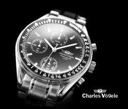 シャルルホーゲルクロノグラフ メンズ腕時計 CV7991-3シルバーブラック☆人気のメンズ腕時計クロノグラフデザインの画像