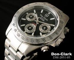ダンクラーク メンズ腕時計 DM2051シルバーブラック☆人気のメンズ腕時計クロノグラフデザインの画像