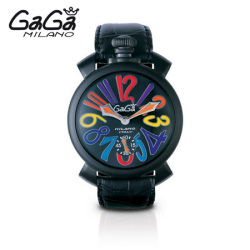 ガガミラノ GaGa MILANO 手巻き腕時計 マヌアーレ MANUALE 48mm カーボン(ブラック PVD) 5012.3【送料無料】☆傷に強い、黒のPVD加工!の画像