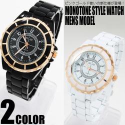 ピンクゴールド使いモノトーンスタイル腕時計ユニセックスAC-W-FHD35-L☆シックなカラーリングで仕上げた、大人テイストなリストウォッチの画像
