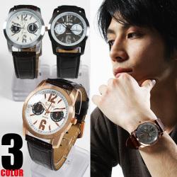 型押しPUレザーブレスレット腕時計AC-W-FHD33xBKBK☆型押しタイプのベルトにスマートなデザインの文字盤をMIX!の画像