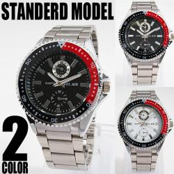 NEWバイカラー仕様フルステンレス腕時計AC-W-INE19☆ベーシックなデザインにベゼルのカラー切り替えでアクセント!の画像