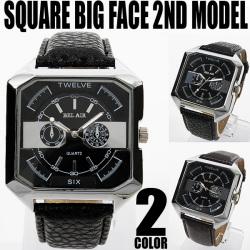 スクエア&ビッグフェイス腕時計☆ブレスレット感覚で使えるゴツめのデザインに仕上げた人気モデルの画像