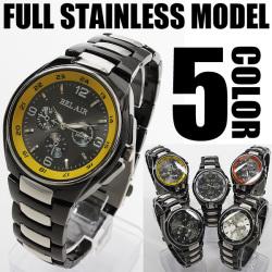 バイカラー仕様フルステンレス腕時計AC-W-FHD92☆ブラック&シルバーのパーツを使用した重厚な仕上がり!の画像