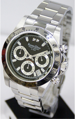 Roven Dino(ロマンディーノ)メンズ腕時計クロノグラフRD3235-2【シルバーブラック】☆人気のクロノグラフモデル メンズ腕時計の画像