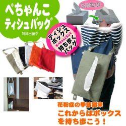 ぺちゃんこティッシュバッグ☆ティッシュをぺちゃんこにして持ち運べるバッグの画像