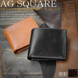 AG SQUAREエージースクエアオイルドレザー二つ折り財布No.1537☆革そのものの風合い、味わいが魅力オイルドレザー二つ折り財布の画像