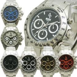 MUSKムスク メンズ腕時計クロノグラフモデルMGT6498☆ケースやベルトにダメージ加工を施したクロノグラフの画像