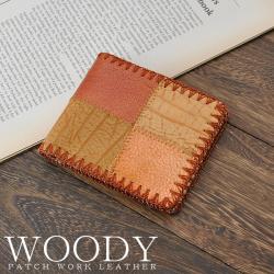 【WOODY】牛革ハンドメイドパッチワークウォレット折財布PZ-009☆職人の手作業で縫い合わされた温かみのあるパッチワークレザーの画像
