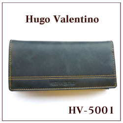 ヒューゴバレンチノ 長財布 HV-5001☆シンプルの魅力をスマートに伝える。ヒューゴの濃紺上質長財布の画像