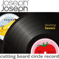 JosephJoseph ジョセフジョセフ カッティングボード 丸形 レコード☆用途色々!耐熱強化ガラス使用のお洒落なカッティングボード!の画像
