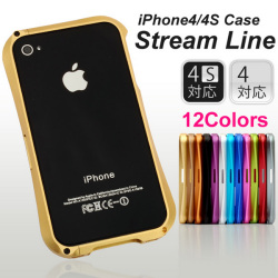 iPhone4s/4対応 ストリームラインアルミバンパー☆選べる全12色!!iPhone4s/4対応のアルミバンパー!の画像