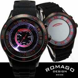 ROMAGO(ロマゴ)ミラー文字盤・ビッグフェイス腕時計AC-W-RM002-0055PL-BK【送料無料】☆独創的なギミックを施した気鋭スイス発ブランド!の画像