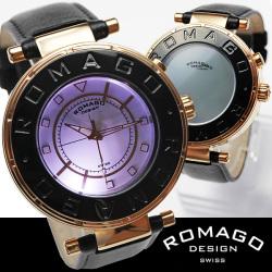 ROMAGO(ロマゴ)ミラー文字盤・ビッグフェイス腕時計AC-W-RM002-0055ST-BR【送料無料】☆独創的なギミックを施した気鋭スイス発ブランド!の画像