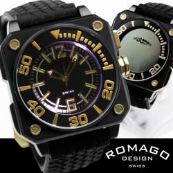 ROMAGO(ロマゴ)ミラー文字盤・ビッグフェイス腕時計AC-W-RM018-0076PL-BK【送料無料】☆独創的なギミックを施した気鋭スイス発ブランド!の画像