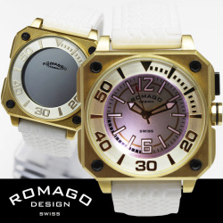 ROMAGO(ロマゴ)ミラー文字盤・ビッグフェイス腕時計AC-W-RM018-0076PL-GD【送料無料】☆独創的なギミックを施した気鋭スイス発ブランド!の画像