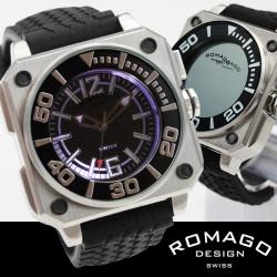 ROMAGO(ロマゴ)ミラー文字盤・ビッグフェイス腕時計AC-W-RM018-0076PL-SV【送料無料】☆独創的なギミックを施した気鋭スイス発ブランド!の画像