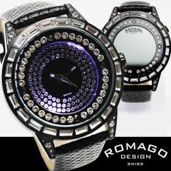 ROMAGO(ロマゴ)ミラー文字盤・ビッグフェイス腕時計AC-W-RM006-1477BK-WH【送料無料】☆独創的なギミックを施した気鋭スイス発ブランド!の画像