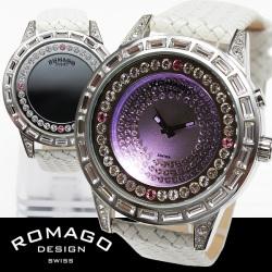 ROMAGO(ロマゴ)ミラー文字盤・ビッグフェイス腕時計AC-W-RM006-1477SV-WH【送料無料】☆独創的なギミックを施した気鋭スイス発ブランド!の画像