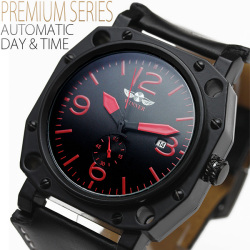 ミリタリーテイスト・ビッグフェイス自動巻き腕時計AC-W-BCG78☆ミリタリーテイストの重厚感◎ビッグフェイスの画像