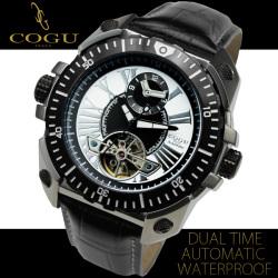 COGU(コグ)ビッグフェイス・デュアルタイム自動巻き腕時計AC-W-C57WH【送料無料】☆時刻表示が2つセットされた特殊ムーブメント使用!の画像