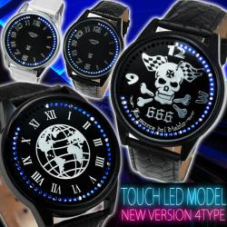タッチ式LEDビッグフェイス腕時計AC-W-BCG68PT2☆時刻表示が2つセットされた特殊ムーブメント使用!の画像