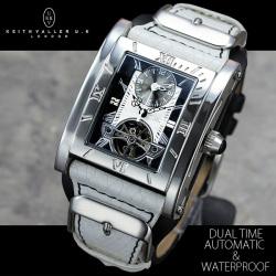 ≪完売≫KEITH VALLER(キースバリー)デュアルタイム自動巻き腕時計【送料無料】☆時刻表示が2つセットされた特殊ムーブメント