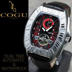 《完売》COGU(コグ)スクエアフェイス・デュアルタイム自動巻き腕時計AC-W-C54RD【レッド】【送料無料】