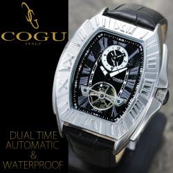 ≪完売≫COGU(コグ)スクエアフェイス・デュアルタイム自動巻き腕時計AC-W-C54BK