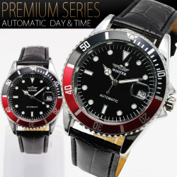 《完売》バックスケルトン・ミディアムフェイス自動巻き腕時計AC-W-BCG70【ブラック&レッド】☆クォーツ式モデルで定番人気