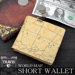 TRAVIS世界地図柄横型BOX式小銭入れショートウォレット8201059☆シンプルながらに機能的な短財布の画像