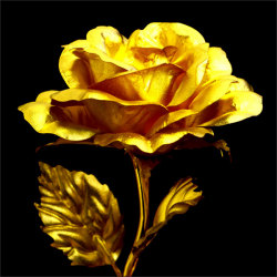 純金箔幸せを呼ぶ黄金のバラ☆大切な人に贈りたい、純金箔!黄金に輝く一輪のバラ【カタログ2012冬】の画像