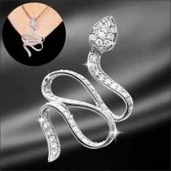 招福純銀白蛇(根付用紐・ペンダント用チェーン付き)☆ペンダントヘットにもなる、招福の使い白蛇の純銀アクセサリーの画像