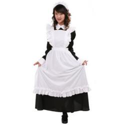 マリーロングメイド (黒/メンズ)PW-33410S☆イベントやパーティーに!男性用女装コスチュームの画像