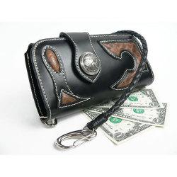 farian バッファロー&リアルパイソンバイカーズウォレット(ブラック)CL-798BK☆バッファロー&パイソン使用の長財布の画像