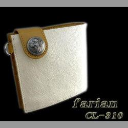 farian ホワイト馬毛短財布(CL-310WH)☆馬の毛と牛革がコラボした二つ折り財布の画像
