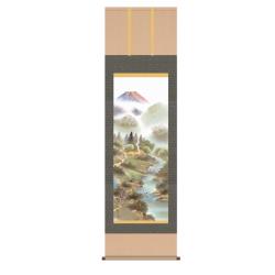 純国産掛け軸 風水霊峰四神図【送料無料】☆山紫水明の趣漂う風趣な山水画の画像