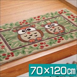 フクロウ柄 玄関マット70×120cm【カタログ掲載1303】☆福を呼び込むフクロウがお出迎えの画像