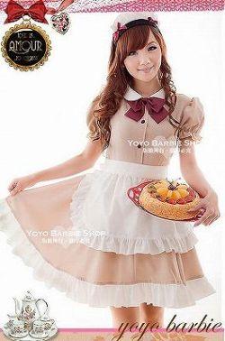 カチューシャ付メイドさんコスチューム4点セット カフェブラウン C454☆イベントやパーティーに!セクシーコスプレ♪の画像
