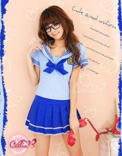 セクシーミニスカ女子高生セーラー服コスチュームセットz466☆イベントやパーティーに!セクシーコスプレ♪の画像
